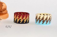 Beaded ring, peyote ring, seedbead zigzag patterned ring with stylish various colours in band style unique handmade beadwork