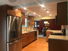 Brown Kitchens, Kitchen Cabinets, Kitchen Appliances, French Door Refrigerator, French Doors, Cozy, Check, House, Furniture