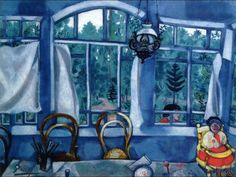 Marc Chagall - Between Surrealism & NeoPrimitivism -  Window over a Garden. 1917. Marc Chagall, Henri Matisse, Chagall Paintings, Naive Art, French Artists, Pablo Picasso, Beautiful Paintings, Happy Paintings, Caravaggio