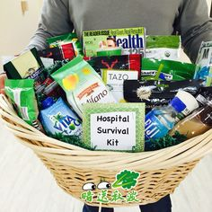 Survival gift basket, gift basket, green theme gift basket,