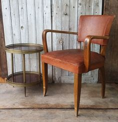 Vintage French leather bridge chair.