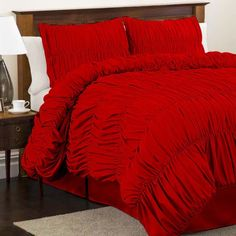 red comforter sets queen size lush decor | Lush Decor Venetian Ruched Bedding Set, Red