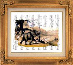 Elephants in Africa, Serengeti, Victorian Art, Sheet Music Art, Unique Gift, Book Art, Dorm Room, Wall Decor, Home Decor, Wall Hanging