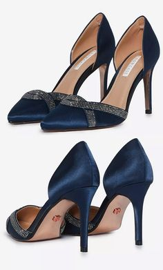 """Navy blue satin and crystal Mother of the Bride Shoes. Shoes for a Spring wedding Mother of the Bride. Mother of the Bride shoes in Navy. No Mother of the Bride outfit is complete without a stylish pair of shoes. You don't always have to match your shoes to your Hat, but rather one that """"coordinates"""". The two shouldn't touch unless you are kicking your hat around the floor, so a perfect match is certainly not required. Low price navy Mother of the Bride Shoes. #motherofthebride"""