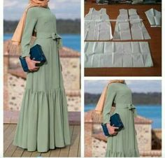 About the long dress: options, models, models . Abaya Fashion, Diy Fashion, Fashion Dresses, Abaya Mode, Mode Hijab, Sewing Clothes, Diy Clothes, Clothes For Women, Dress Sewing Patterns