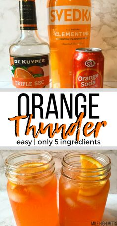 Orange Thunder (easy, only 5 ingredients) - Mile High Mitts Orange Thunder: This alcoholic drink is an easy recipe, with only 5 ingredients and filled with orange flavor. A perfect drink for a summer party! Easy Alcoholic Drinks, Party Drinks Alcohol, Alcholic Drinks, Alcohol Drink Recipes, Vodka Drinks, Cocktail Drinks, Bourbon Drinks, Punch Recipes, Vodka Alcohol