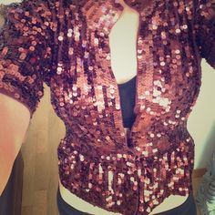 Boston Proper Sequin wine color cardigan. XXS Be festive this holiday season with this cardigan. Dress up with nice slacks or skirt. Or pair with your favorite jeans. Single snap close. Pulls in at waist for a sexy slimming effect. Beautiful wine color. XXS. Never worn!! Boston Proper Sweaters Cardigans
