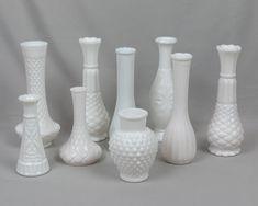 Nine vintage milk glass bud vases Wedding decor Home decor Wedding Vases, Wedding Decorations, Table Decorations, Milk Glass Vase, Glass Table, Vintage Vases, Bud Vases, Diamond Cuts, Modern Art