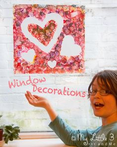 Heart Window Clings - a fun art idea for kids, great for Valentine's Day or Mother's Day.