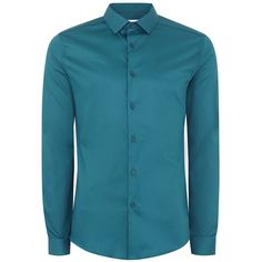 TOPMAN Teal Satin Muscle Fit Shirt (2.825 RUB) ❤ liked on Polyvore featuring men's fashion, men's clothing, men's shirts, men's casual shirts, blue, mens long sleeve shirts, mens teal dress shirt, mens long sleeve collared shirts and mens blue shirt