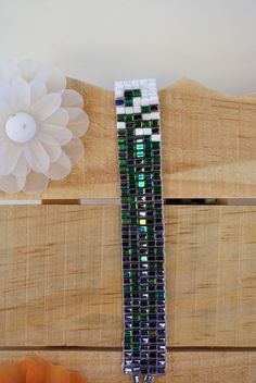 Loomed Square Beaded Bracelet by JewelrybyTheriot on Etsy