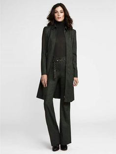 Beautiful look from W by Worth. Melange Brushed Twill Belted Coat Melange Brushed Twill Full Length Shakira Pant Turtleneck Pullover Leather Chain Tassel Belt For more information about this look, contact Janet or send a message to Janet at jmajev @wbyworth.com. By appointment only.