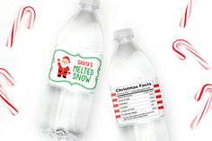 Santa's Melted Snow Water Bottle Labels - Set of 20    These Water Labels Will Melt Your Heart!    55% OFF
