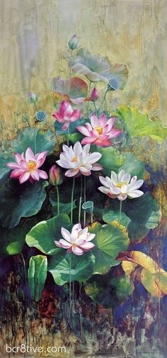 Floral Oil Paintings by Wu Furong Art Floral, Lotus Painting, Lotus Flower Paintings, Oil Painting Flowers, Painting Abstract, Art Watercolor, Art Japonais, Chinese Painting, Painting Techniques