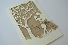 Laser Cut Wedding Invitation Laser Cut Tree by FoxfordAtelier