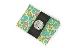 Shades of Green and Pink Flowers Liberty cotton pocket square