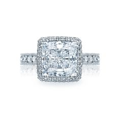 #Tacori style no. HT2607PR85. From our RoyalT Collection this unique princess cut engagement ring has 1 1/2 carats in the setting alone! This amazing design will sparkle with every beat of your heart. Our signature crescent silhouette design creates stunning profile to last a lifetime.