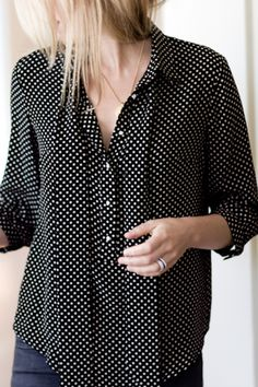 Black and Cream Ribbons Blouse