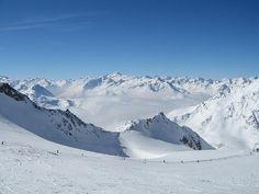 Stubai Glacier, Austria (outside Innsbruck).  Altitude 3333 metres or 10,935 feet.  Unique experience to ski on a glacier.
