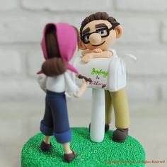Animated movie Up theme custom wedding cake topper, Carl and Ellie with the mail box. Personalized wedding cake topper, wedding decoration and