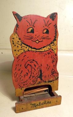 Vtg Homemade Painted Wood Cat Match Box Holder w Matches c1930s Cute Kitten!