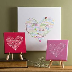 This personalized canvas art is a great Wedding and Housewarming Gift idea! You enter you and your wife/husband's names and they mold them into this cute heart design! It comes in different sizes and colors and prices start at only $23.95! It would look beautiful above your bed, on the fireplace mantle or on any wall in your home! #Wedding #Housewarming #Art #Home #Heart #PMall.com