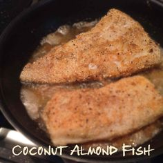image of fish frying in coconut-almond batter