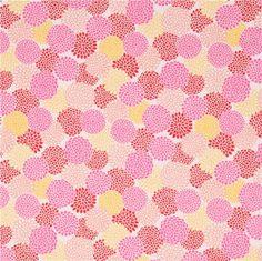 Tela dobby blanco roto con textura linda flor amarillo rosa rojo de Japón - Telas de flores - Textiles - tienda kawaii modesS4u