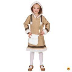 Kostüm Eskimo Mädchen Gr. 116- 152 Kleid mit Kapuze hellbraun Kinderfasching
