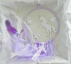 Unicorn dream catcher Purple dreamcatcher Pastel nursery Stars decoration Unicorn gifts Unicorn nursery Baby shower gift Purple bedroom