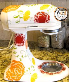 "Kitchen Mixer Decals ""Everything's Coming Up Roses"" by thewordnerdstudio on Etsy, $32.00"