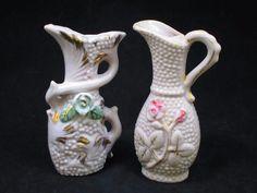 Vintage Porcelain Japan Miniature Pink Vase and Pitcher (2) Floral & Gold Gilt