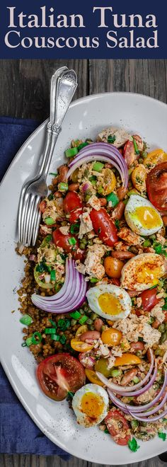 Tuna Couscous Salad Recipe | The Mediterranean Dish. Canned tuna takes on an Italian twist with kindey beans, fresh veggies, capers and more! Add heat and ready couscous pilaf from @wildgardenfoods for an easy weeknight dinner! See the full recipe on TheMediterraneanDish.com