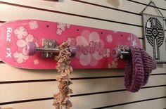 Recycled Girls Skateboard Wall Coat Hat Rack with Wheel Coat Hooks. Kid's Room,Dorm,Teen's Room,Living Room,Bedroom,Mudroom Decor by TheRustyBucketVT on Etsy
