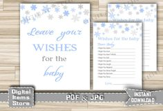 Winter Wishes For Baby Cards and Sign  by DigitalitemsShop on Etsy