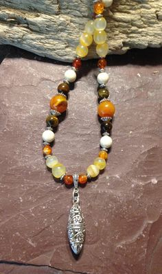 Yellow Tiger's Eye Necklace Glass Beads by TheHippieBohemian