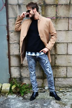 Camel coat | Ripped jeans studs | Men's buckel shoes | Lumberjack sweater | So real sunglasses black  http://mymenfashion.com/camel-coat.html