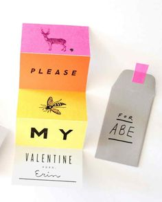 Accordion-Folded Clip-Art Valentines