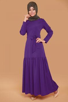 Eteği Fırfırlı Kolyeli Elbise  Mor Ürün kodu: UKB2052-S--> 59.90 TL