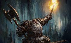 m Dwarf Paladin Plate Armor Battle Axe Torch Underdark Cavern Traveler Warhammer Quest The Adventure Card Game Fantasy Flight Games med Fantasy Dwarf, Fantasy Rpg, Medieval Fantasy, Fantasy Portraits, Character Portraits, Fantasy Races, High Fantasy, Dark Souls, Fantasy Character Design