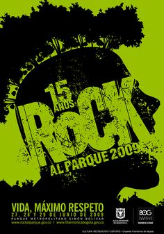 Rock al Parque 2009. Rock And Roll, Graphic Design, Movies, Movie Posters, Musical, Men's, Block Prints, Kiss Rock Bands, Rock Bands