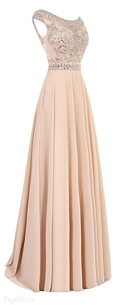 Bess Bridal Beaded Cap Sleeves Evening Gown