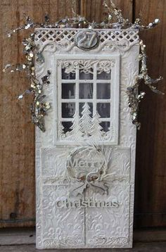 White Christmas Door//card stock glued over wood.