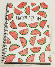 cuadernos Watermelon illustration shared by Isabelle Falck Notebook Diy, Notebook Covers, Bullet Journal Ideas Pages, Bullet Journal Inspiration, Bullet Journals, Diy Back To School, Cute Notebooks, Cute School Supplies, Watermelon