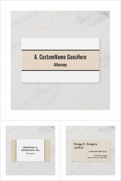 Simple, professional business card designs with a beige or tan colored background. Professional Business Card Design, Beige, Collections, Ash Beige