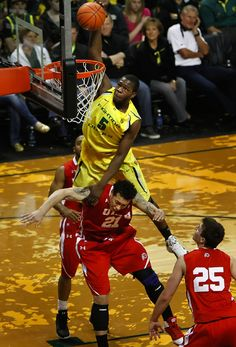 Olu Ashaolu helps close out the Oregon men's basketball regular season at Matthew Knight Arena with this emphatic dunk vs. Utah in a 94-48 win on March 3, 2012. The 46-point margin of victory was UO's highest ever in a conference game, while the margin of defeat was the largest in Utah's basketball history.