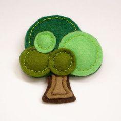 cute felt tree brooch