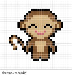 Doces Pontos: Macaquinho Tiny Cross Stitch, Beaded Cross Stitch, Cross Stitch Animals, Cross Stitch Embroidery, Cross Stitch Patterns, Fuse Bead Patterns, Perler Patterns, Broderie Simple, Modele Pixel Art