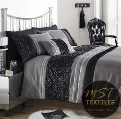 black silver colour stylish ruffled duvet quilt cover luxury sequin bedding contemporary