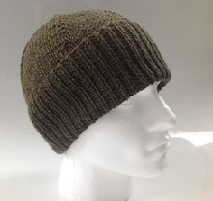 Mens Olive Green 100% Peruvian Wool Aran Beanie Hat - Hand Knitted in Scotland by sewmoira on Etsy